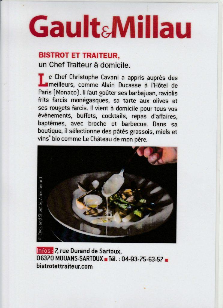 avis Gault & Millau sur Bistrot & Traiteur