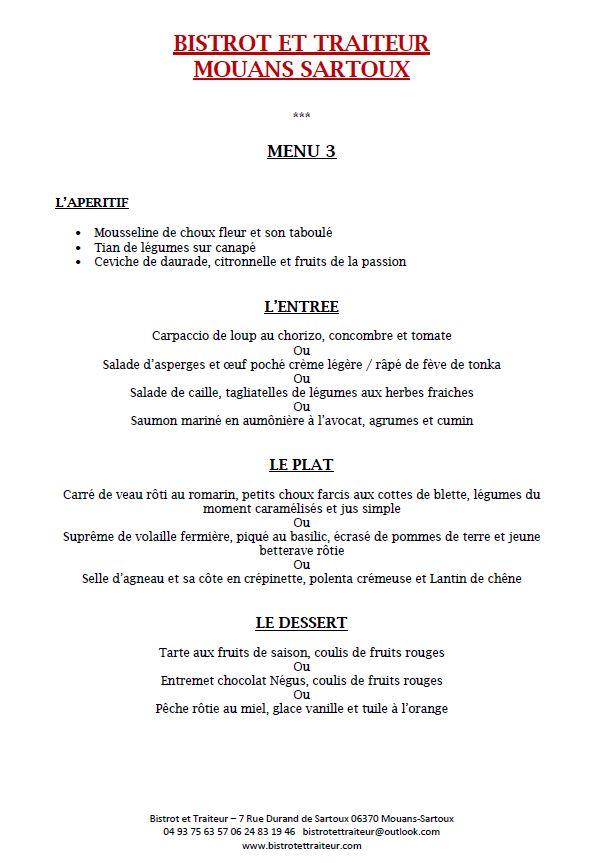 menu 3 Repas d'affaire Bistrot et Traiteur