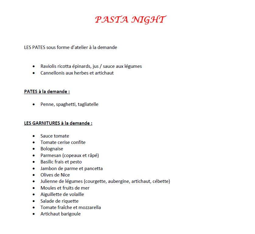 pasta night animations Bistrot et Traiteur